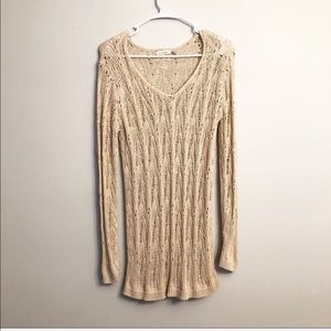 Other - Long Sleeve Crochet Beach Vacation Cover Up Tan